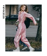 SEXEMARA Hot Pink Jumpsuit Runway Streetwear Zipper Pockets Sash High Wa... - $88.79+