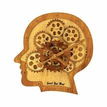 Analog Gears Wall Clock Industrial Futuristic Wooden Human Brain Mind Ec... - $70.00