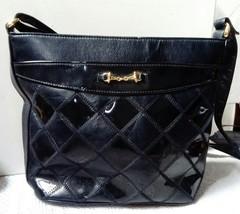 Vintage Joanna Hall Patent Black Shoulder Handbag C1980s, Horse Bit Deco... - $26.30