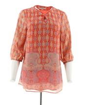 Liz Claiborne NY 3/4 Slv Border Print Tunic Red Multi XXS NEW A253869 - $30.67