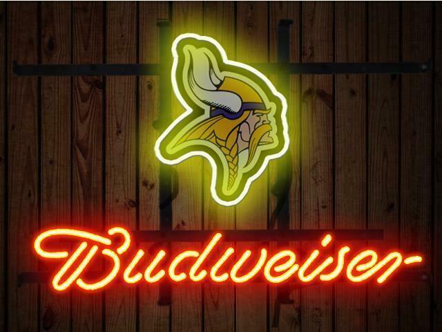 "Budweiser Minnesota Vikings Bud Neon Sign 14""x10"" Beer Bar Light Artwork Man"