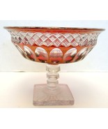 Westmoreland Waterford Diamond Thumbprint Ruby Stain Pressed Glass Compote - $18.99