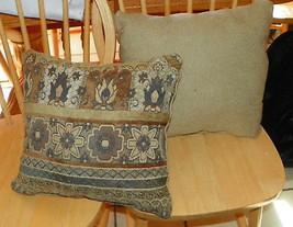 Pair of Brown Beige Flower Print Decorative Throw Pillows  15 x 15 - $59.95