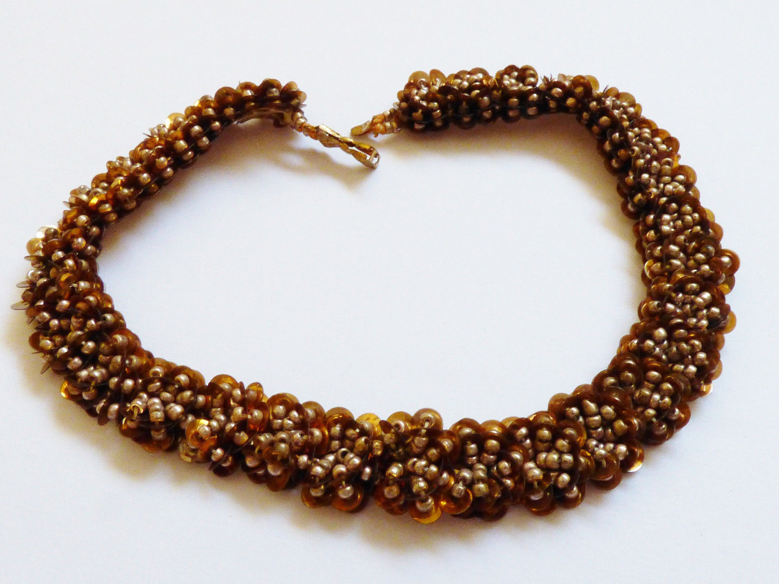 """VTG Gold color sequin & beads choker necklce bow clasp 13""""L - $24.75"""