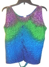 """Blue, Green and Purple """"Waves"""" Print Vest Top with Tie Back Sleeveless b... - $25.64"""