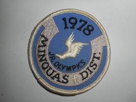 """Vintage 70s Boy Scouts Jr. Olympics Minquas District 1978 Patch 3"""" - $6.99"""