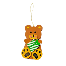 Christmas Tree Ornament Wooden Vintage Bear Holding Green Striped Gift B... - $4.95