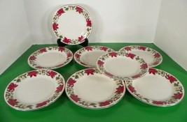 Gibson Red Poinsettia Holiday Bread Plate (S) Lot Of 8 Holly Berry Christmas - $29.65