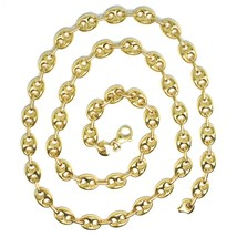18K YELLOW GOLD MARINER CHAIN BIG OVALS 8 MM, 24 INCHES, ANCHOR ROUNDED NECKLACE image 2