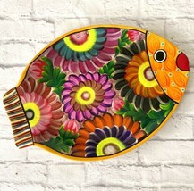 Art Pottery Terra Cotta Fish Wall Hanging Colorful Floral Hand Painted G... - $24.74