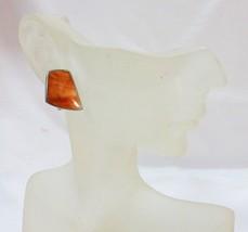 Vintage sterling silver earrings PB925 orange semi precious stone clip  - $27.72