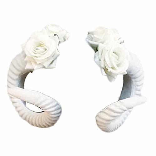 Primary image for White Plastic Sheep Horn with White Rose Hair Clip Cosplay Animal Headdress Goth