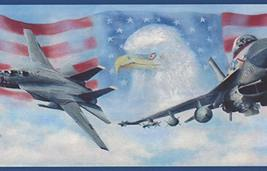 USA Air Force Jet Fighters American Flag Bald Eagle Patriotic Wallpaper ... - $16.82