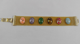 Vintage 1970s Sarah Coventry Designer Gold Mesh Bracelet Multi Color Stones - $24.99