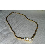 Vintage Goldtone Snake Chain w Double Faux White Pearl & Clear Rhineston... - $9.49