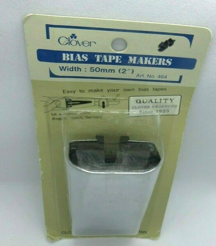 """Clover 50 Bias Tape Maker 50mm 2"""" Width Sewing Quilting Chrome Metal Japan New - $12.84"""
