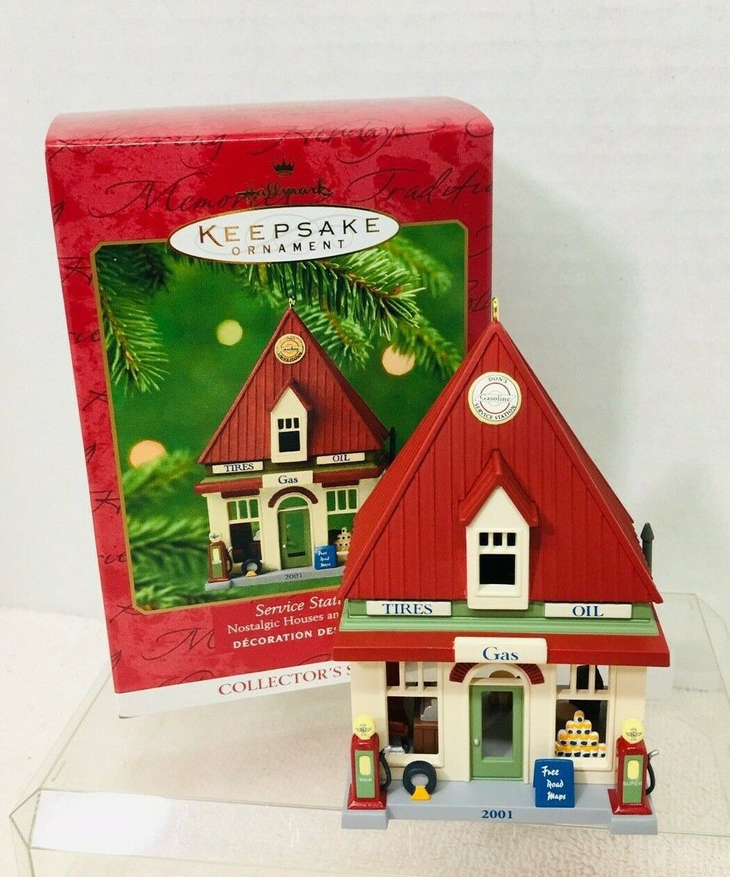 Primary image for 2001 Nostalgic House #18 Service Station  Hallmark Christmas Tree Ornament MIB