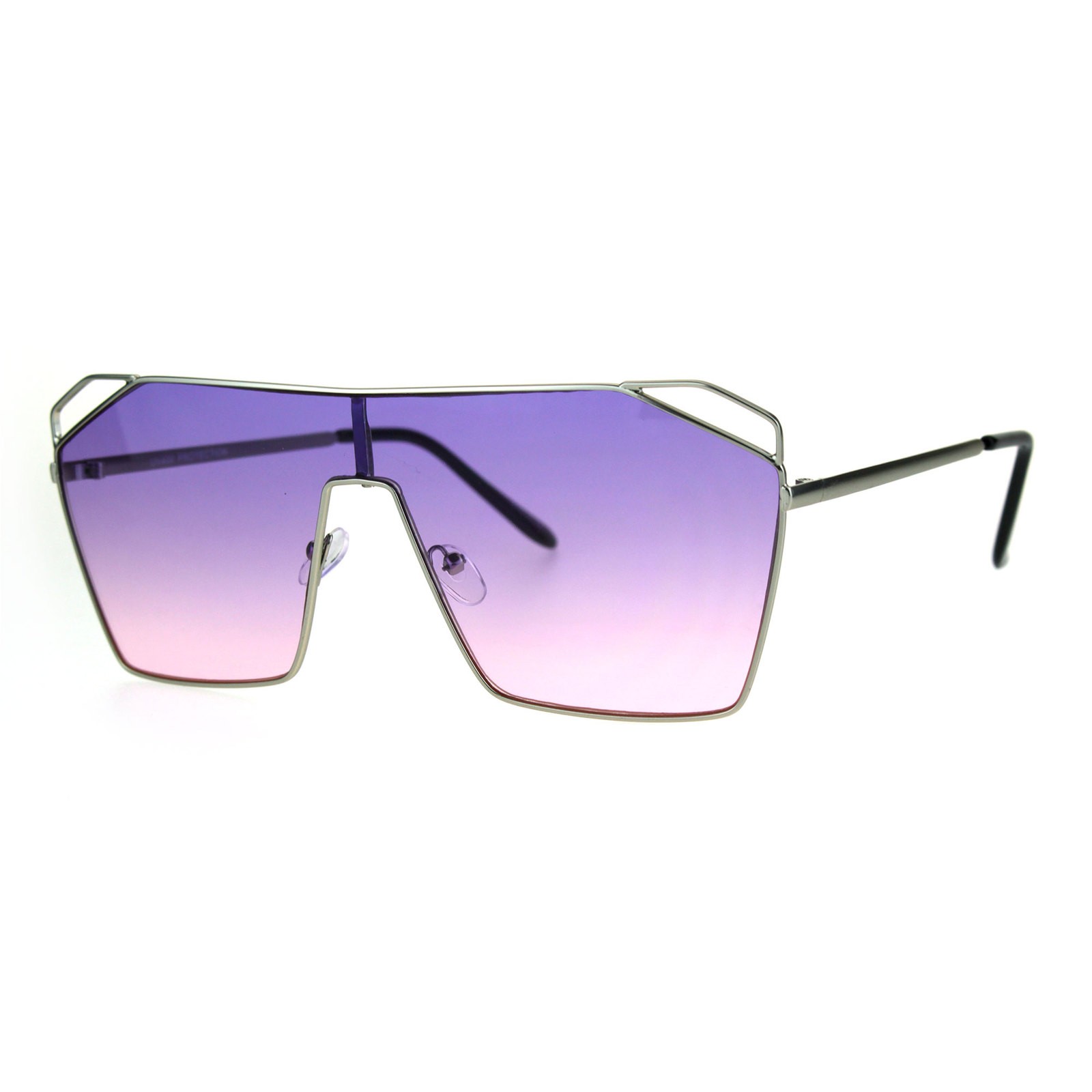 a51b3dc9c7 ... Womens Oceanic Gradient Futurist Shield Robotic Metal Aviator Sunglasses  ...
