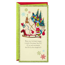 Dr. Seuss Grinch With Sleigh Money Holder Christmas Card With Envelope - $3.99