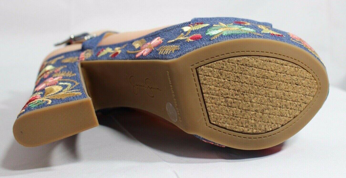 Jessica Simpson Divella Damen High Heels Offen Sandalen Denim Stickerei Größe 7 image 10