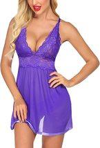 Women Lingerie Lace Babydoll Strap Chemise Halter Teddy V Neck Sleepwear image 13