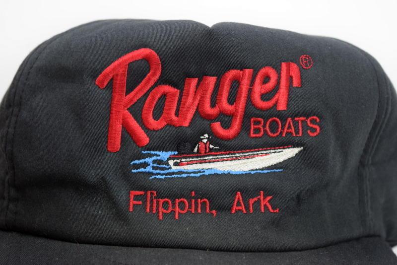 b817baba1df 57. 57. Previous. Vtg RANGER BOATS Black Embroidered Snap Back Trucker Hat  Baseball Cap Fishing