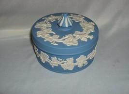 Vintage Wedgwood Blue Jasper Grapes Trinket Box & Lid NICE - $25.00
