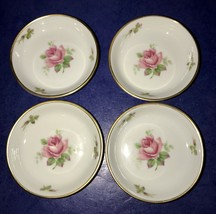 Lovely Set Of 4 Rosenthal Germany Pink Roses With Gold Trim Butter Pats - $40.09