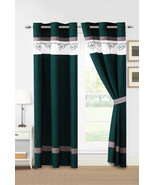 4P Alair Scroll Floral Vine Damask Embroidery Stripe Curtain Set Teal Wh... - $40.89