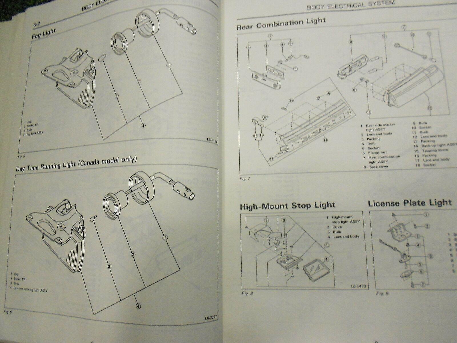 1991 Subaru XT Electrical Wiring Service Repair Shop Manual FACTORY FEO BOOK 91