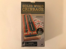 Solid Wood Cribbage Folding 3 Track Board With Playing Cards BRAND NEW S... - $19.32