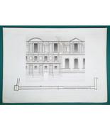 ARCHITECTURE PRINT 1864 - PARIS Louvre Grande Galerie Partial Facade View - $14.40