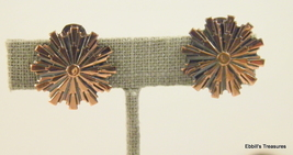 fashioned after renoir unsigned solid copper starburst clip on earrings ... - $12.95