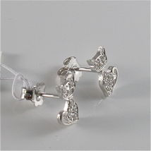 925 RHODIUM SILVER JACK&CO EARRINGS WITH KITTY CAT CUBIC ZIRCONIA MADE IN ITALY image 3