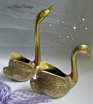 Mid Century Modern Brass Etched Swans Home Decor Planters Trinkets Vinta... - $20.00
