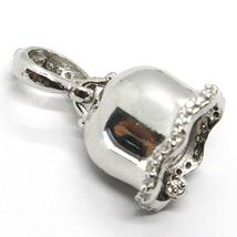 Silver Pendant 925, Little Bell, Bell with Zircon, Coral, Pendant image 8