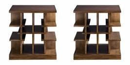 "TWO NEW 26"" SOLID WOOD & WALNUT VENEER END SIDE TABLE MODERN  MULTI LEVE... - $1,073.60"