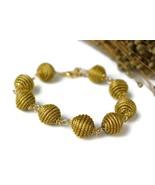 Beaded Link Bracelet, Golden Bracelet, eco friendly jewelry, golden gras... - $25.60
