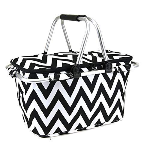 scarlettsbags Chevron Print Metal Frame Insulated Market Tote Black