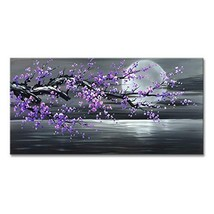 Konda Art Framed Handmade Purple Flower Oil Painting On Canvas Abstract ... - $110.49