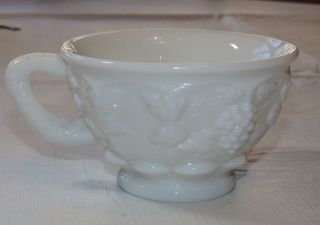 "Primary image for Westmoreland Milk Glass coffee tea cup Grape Vine design white Vintage 3 3/4""~"