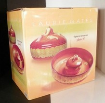 Laurie Gates SANTA FE Serve Set Chip 'n Dip 4-Piece Jalapeno Chili Peppers - $49.45