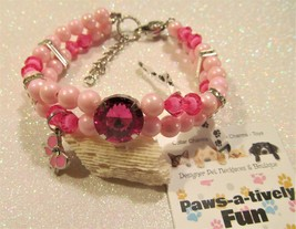 "9"" Magenta Gemstone & Bow Dog/Cat Collar Necklace, Bling Dog/Cat Collar Necklace - $15.49"