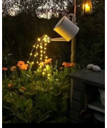 Garden Waterfall Solar lights w/watering can yard Folk art Holiday  - $54.00