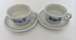 Pfaltzgraff Pottery Blue Yorktowne Flat Cups and Saucers Castle Mark Qty of Two - $14.73