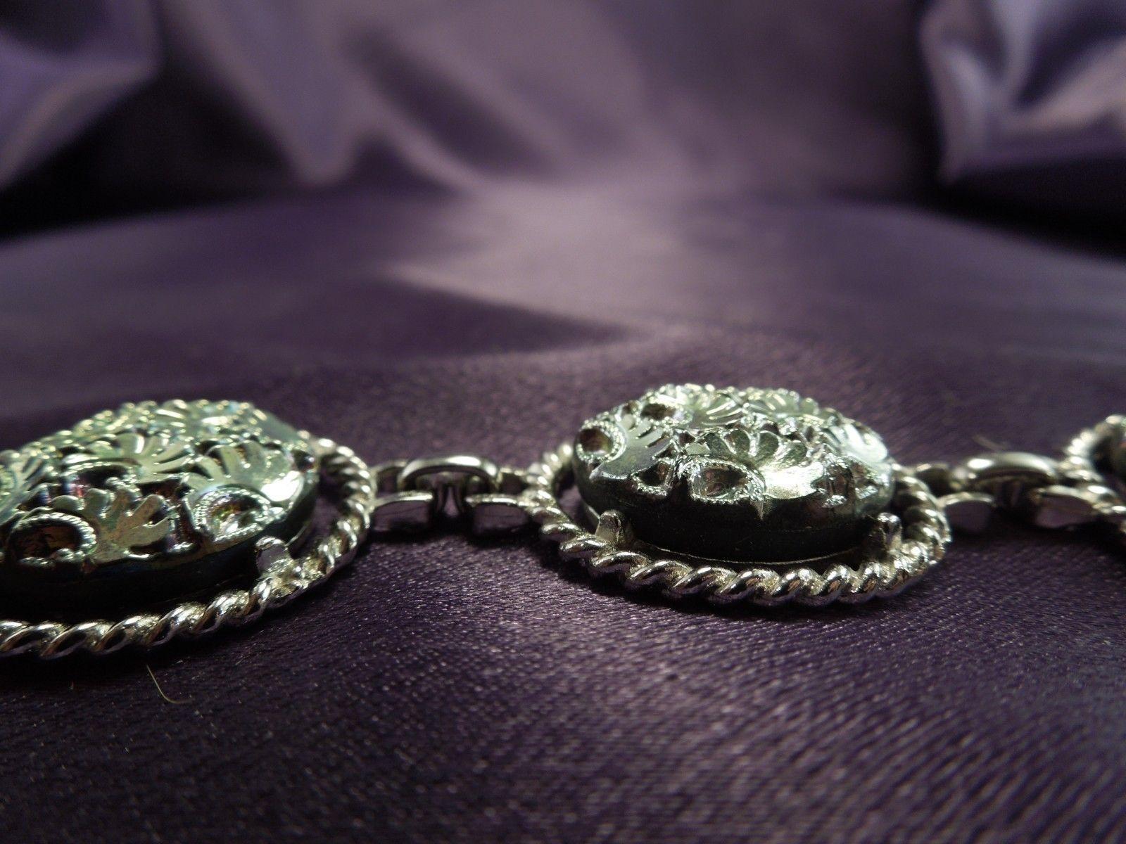 Sarah Coventry Silver Tone Iridescent Bright Cut Vintage Bracelet