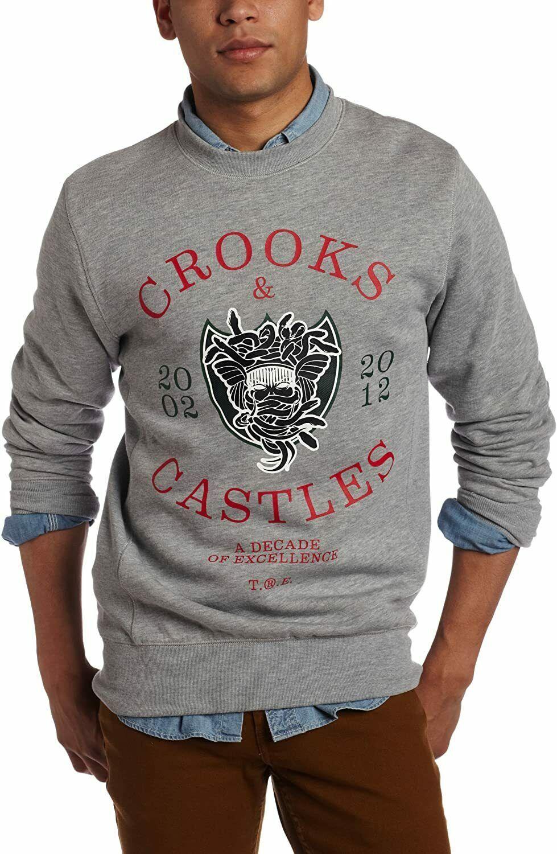 Crooks & Castles Men's Heather Grey Decade Medusa Crew Knit Sweatshirt XX-Large