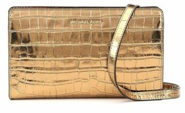 Michael Kors Gold Large Crossbody Clutch Embossed Leather - $99.90