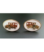 Vintage Avon cufflinks cuff links enamel antique cars  - $9.89
