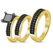 14K Yellow Gold FN His Her Diamond Engagement Bridal Wedding Band Trio R... - $133.29